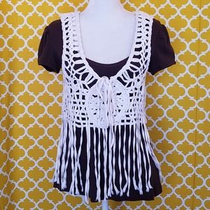 AWESOME ROOMMATES IVORY BRAIDED ROPE OVERLAY VEST